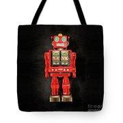 Star Strider Robot Red On Black Tote Bag