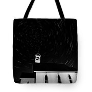 Star Tracks Over Saint Columba Anglican Country Church Tote Bag