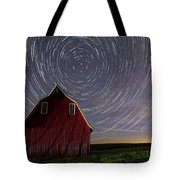 Star Trails At The Red Barn Tote Bag