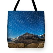 Star Trails Over Columbia Icefields Tote Bag