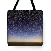 Star Trails Over Mountains Tote Bag