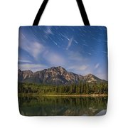 Star Trails Over Patricia Lake Tote Bag