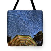 Star Trails Over The Umbrellas Tote Bag