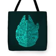 Star Wars Art - Millennium Falcon - Blue 02 Tote Bag