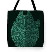 Star Wars Art - Millennium Falcon - Blue Green Tote Bag