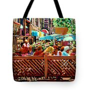 Starbucks Cafe On Monkland Montreal Cityscene Tote Bag