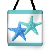 Starfish Blue And Turquoise On White Tote Bag