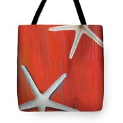 Starfish On Red Tote Bag
