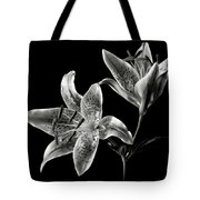 Stargazer Lily In Black And White Tote Bag