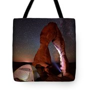 Starlight Tent Camping At Delicate Arch Tote Bag