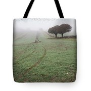 Starling Murtmuration In Foggy Misty Autumn Morning Landscape In Tote Bag