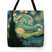 Starry Night After V. Vangogh Tote Bag