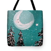 Starry Night Crescent Moon  Tote Bag