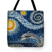 Starry Night Dolphin Tote Bag