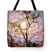 Starry Night Fantasy, Tree Silhouette Tote Bag
