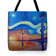 Starry Night In Venice Italy San Marco With Lion Painting By M Bleichner