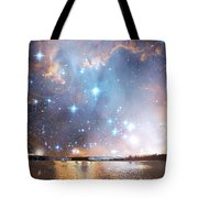 Starry Night Over A Mountain Lake Fantasy Tote Bag