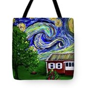 Starry Night Over Grandma's Cabin Tote Bag