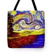 Starry Night Over Nubble Lighthouse  Tote Bag