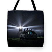 Stars And Light Beams - West Quoddy Head Lighthouse Tote Bag
