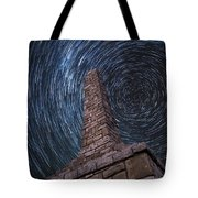 Startrails Over Kanza Monument In Kansas Tote Bag