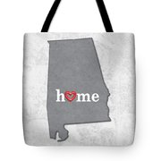 State Map Outline Alabama With Heart In Home Tote Bag