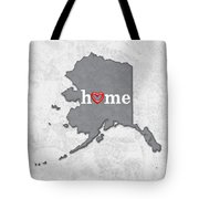 State Map Outline Alaska With Heart In Home Tote Bag
