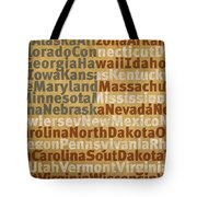 State Names American Flag Word Art Red White And Blue Tote Bag