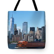Staten Islan Ferry With Nyc Skyline Tote Bag