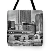 Staten Island Ferry Docks In B And W Tote Bag