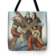 Station Ix Jesus Falls Under The Cross The Third Time Tote Bag