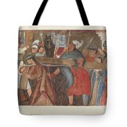 """Station Of The Cross No. 5: """"jesus Is Assisted In Carrying His Cross Tote Bag"""