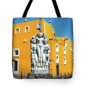 Statue And Yellow Theater Tote Bag