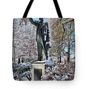 Statue In The Snow Tote Bag