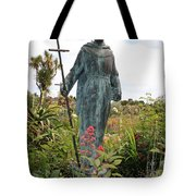 Statue Of Father Serra At Carmel Mission Tote Bag