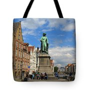 Statue Of Jan Van Eyck Beside The Spieglerei Canal In Bruges Tote Bag