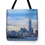 Statue Of Liberty And Manhattan Tote Bag