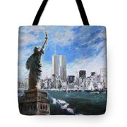 Statue Of Liberty And Tween Towers Tote Bag