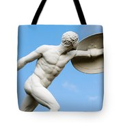 Statue Of Nude Man With Shield And Dagger Tote Bag