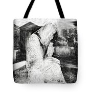 Statue Of Weeping Woman, Lafayette Cemetery, New Orleans In Black And White Sketch Tote Bag