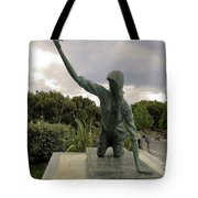 Statue Of Woman Crawling On Marble Street Tote Bag