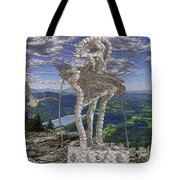 Statue On The Rocks  Tote Bag