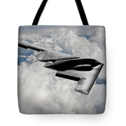 Stealth Bomber Over The Clouds Tote Bag