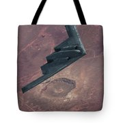 Stealth Over The Arizona Meteor Crater Tote Bag
