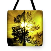 Steam And Tree With Sunlight Rays Blue Sky Tote Bag