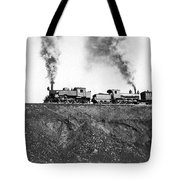 Steam Engines Pulling A Train Tote Bag