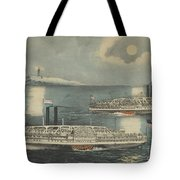 Steamboats Passing At Midnight On Long Island Sound Tote Bag