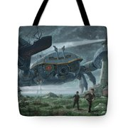 Steampunk Giant Crab Attacks Lighthouse Tote Bag