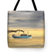 Steamship Freighter Heading Towards The Ocean Tote Bag
