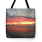 Steamy Winter Sunset Tote Bag